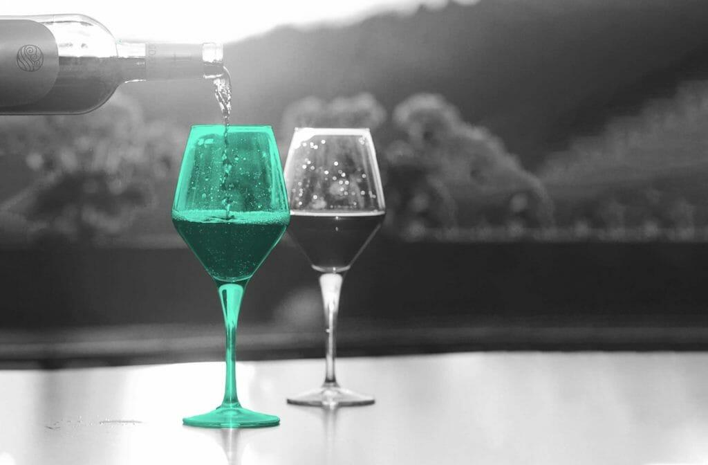 Differenzierte Positionierung Glas Wein
