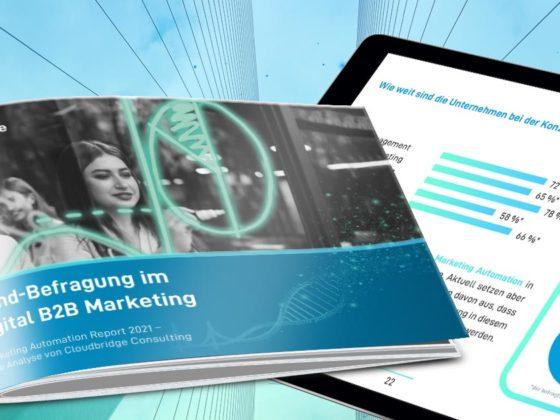 Querformat Booklet und Ipad mit Ergebnissen einer B2B Trendbefragung